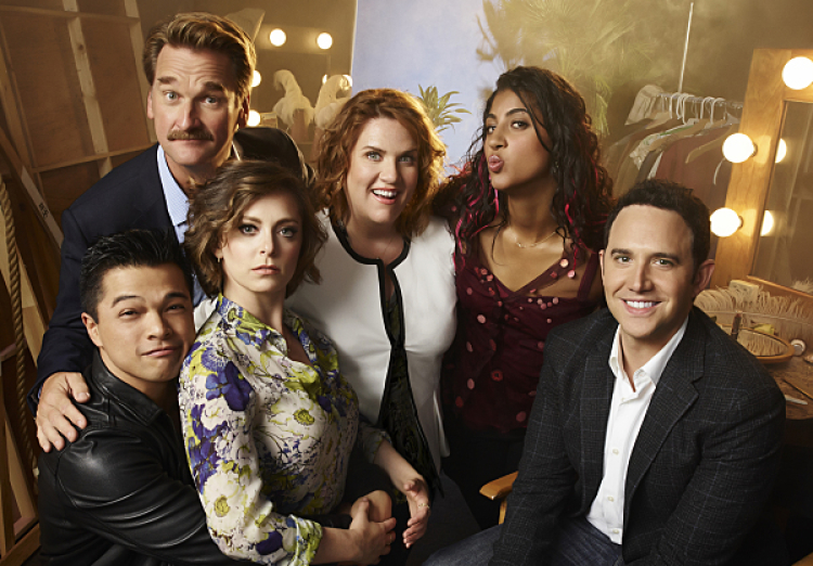Crazy Ex-Girlfriend -- CEG1_CastShot3_0509.jpg -- Pictured (L-R): Vincent Rodriguez III as Josh, Pete Gardner as Darryl, Rachel Bloom as Rebecca, Donna Lynne Champlin as Paula, Vella Lovell as Heather and Santino Fontana as Greg -- Photo: Smallz & Raskind/The CW -- © 2015 The CW Network, LLC. All Rights Reserved.